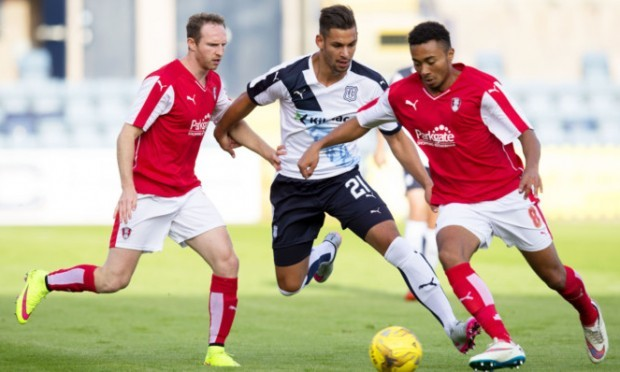 Rotherham's Grant Ward takes the ball away from Luka Tankulic.