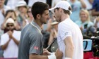 Novak Djokovic congratulates Andy Murray on his win.