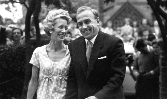 Joy Beverley and former England footballer Billy Wright following their wedding.