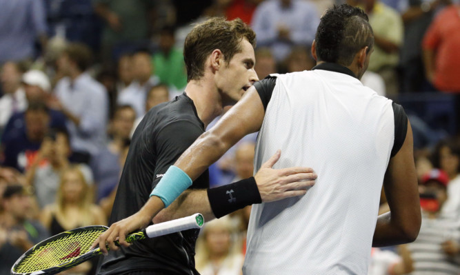 Andy Murray with Nick Kyrgios after his first-round victory.