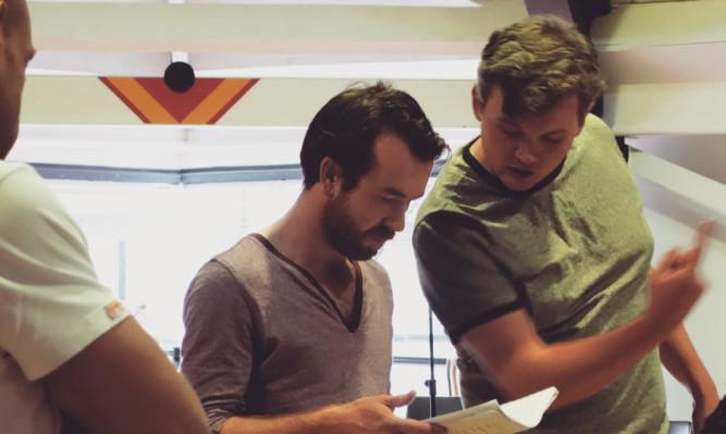 Director Joe Douglas with Martin McBride during rehearsals.