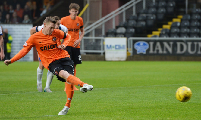 Billy McKay opened his Dundee United scoring account from the spot against Kilmarnock.