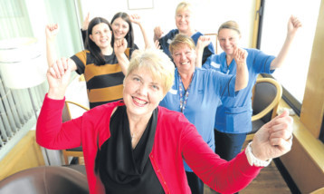 Laura, front, with, back, from left, Claire Heaton from Maggies, Dundee, Chloe Bennett, senior charge nurse Alison Inglis, staff nurse Dianne Robertson and staff nurse Alison Millar.