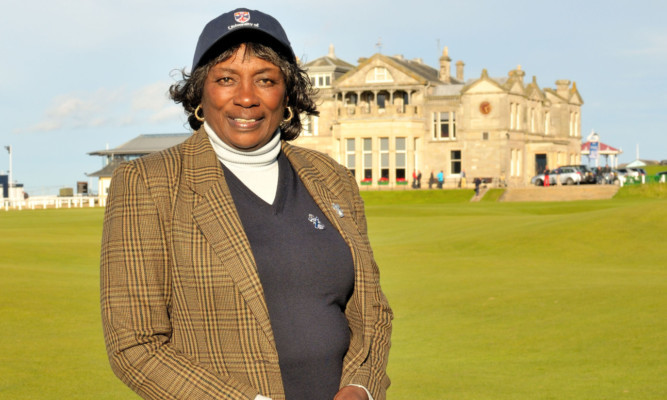 Renee Powell stands on the Old Course during a visit to St Andrews