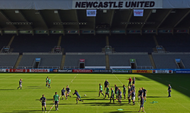 Scotland training in the sunshine at St James' Park yesterday.
