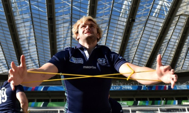 Richie Gray does some stretching exercises at St James' Park yesterday.