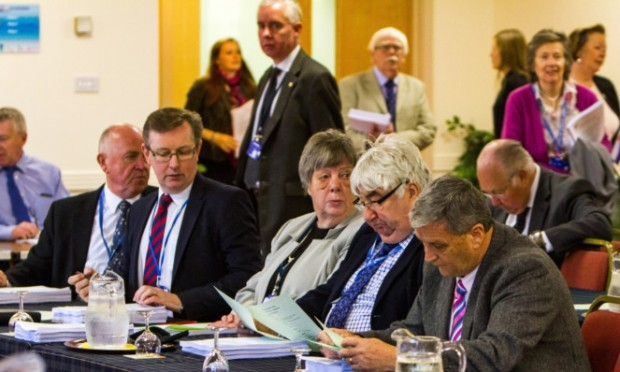 At the full council meeting where the Perth City Hall plan was discussed are, front, from left, councillors Mac Roberts, Alexander Stewart, Barbara Vaughan, Ian Campbell and Alistair Munro.