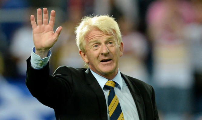 Scotland boss Gordon Strachan acknowledges the support of the Tartan Army after the full-time whistle.