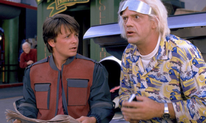 Marty McFly (Michael J. Fox) and Doc Brown (Christopher Lloyd) in Back to the Future II