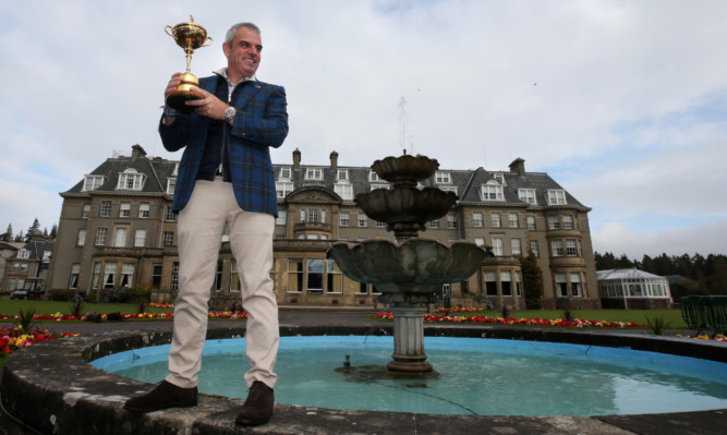 Paul McGinlay, last years European captain in the Ryder Cup, triumphant at Gleneagles.