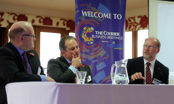From left: Weir Group CEO Keith Cochrane, Tim Allan, president of Dundee and Angus Chamber of Commerce and Richard Stiff, chief executive of Angus Council