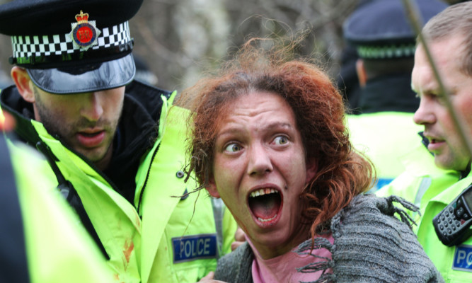 Protesters clash with police at the Barton Moss fracking site, Manchester.