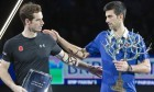 Andy Murray and Novak Djokovic leave the podium after the final of the BNP Masters.