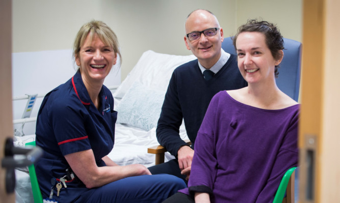 Pauline Cafferkey (right), with Breda Athan (left), senior matron and high level isolation unit lead and Dr Michael Jacobs (centre), consultant in infectious diseases at the Royal Free Hospital in London.