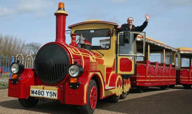 Driver Shirley Keilloh on the Arbroath road train that runs in the summer. Now plans are in motion to have a similar attraction in Stonehaven.