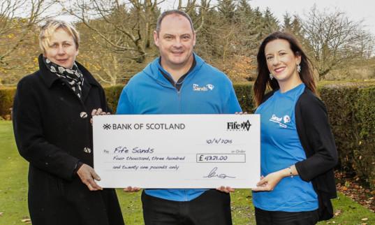 Liz Murphy of Fife Council bereavement services, with Fife Sands chairman Robert Gassner and treasurer Debbie Chalmers.