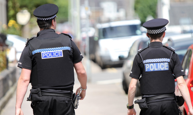 Kris Miller, Courier, 01/07/12. Picture today shows police officers on the beat (in Broughty Ferry) for files.   Police Policemen, Police Officers, beat bobbies.