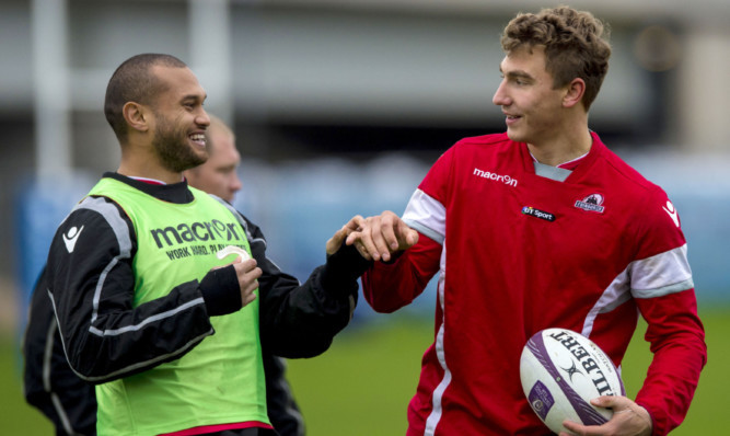 Jamie Ritchie (right) has a chance to make his European debut alongside Will Helu in Agen.