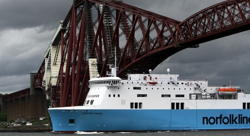 Rosyth ferry route reopens.    MV Scottish Viking, completes her maiden voyage to Rosyth.