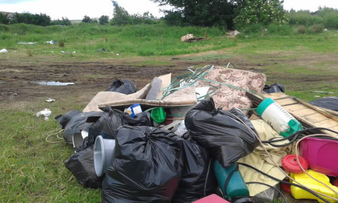 Mess left at a Traveller site in Forfar.