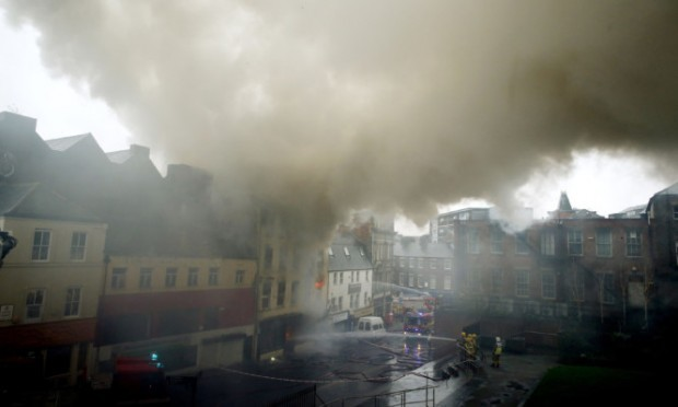 The fire broke out in Cross Street in the city centre.