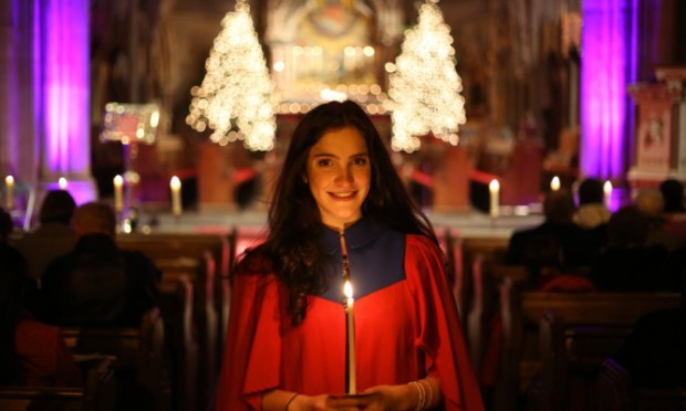 Dundee University welcomed Christmas in traditional fashion with its candlelit concert at St Pauls Cathedral on Sunday. Principal Professor Sir Pete Downes and his wife, Lady Elizabeth Downes, hosted a reception with mince pies and mulled wine after the service. Photo shows  medical student Hattie Greig.
