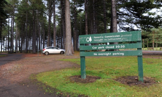 17.09.15 - pictured is the car park at the Forestry Commission Tentsmuir Forest, Tentsmuir which is to be closed to vehicles in high winds due to the risk of falling trees