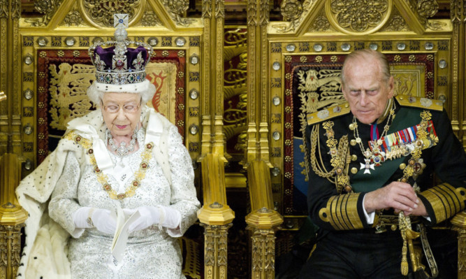 Queen Elizabeth II and the Duke of Edinburgh during the Queens Speech at the State opening of Parliament.