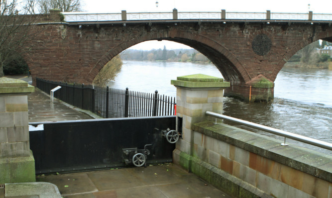 One of the floodgates on Tay Street in Perth.