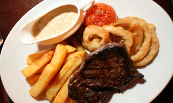 The chargrilled rib-eye steak.