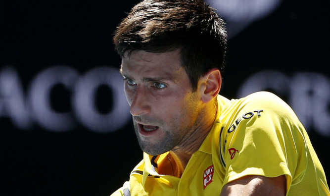 Novak Djokovic in action in the first round of the Australian Open.