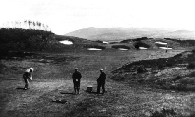 Golfers on the Kings Course at Gleneagles in the 1920s.