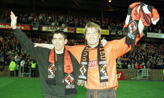 Owen Coyle and Brian Welsh celebrate firing United back into the top division with a play-off win over Partick Thistle in 1996. The class of 2016 need to show similar nerve in the remaining games this season to have any chance of staying there.