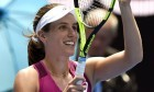 Johanna Konta celebrates after defeating Zhang Shuai of China.