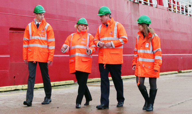 Prime Minister David Cameron takes a tour of Aberdeen Harbour during a visit to the city this week.