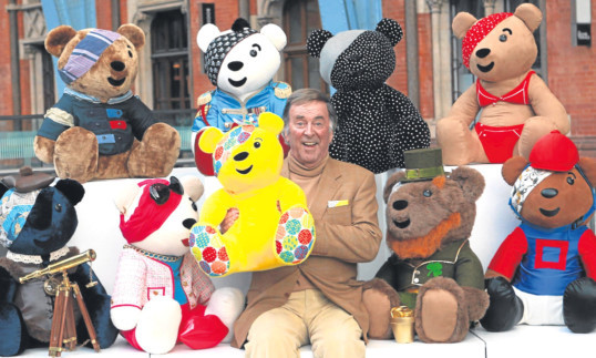 Sir Terry Wogan with a selection of Pudsey Bears, the symbol of his beloved Children in Need appeal.