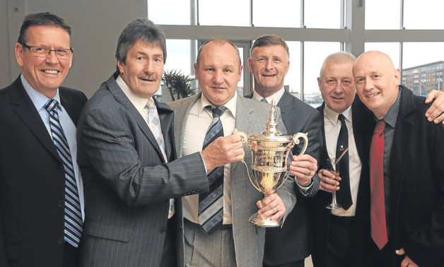 Billy Kirkwood, Hamish McAlpine, John Reilly, Paul Hegarty (captain), Ralph Milne and Derek Murray at Friday night's 30th anniversary celebration.