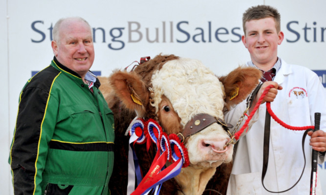 Harold Stubbs and Alan Burleigh with their champion bull Derrycallaghan Fireworks.