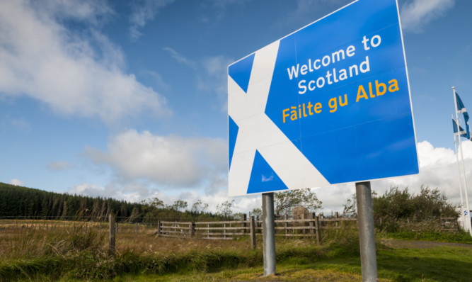Welcome to Scotland sign at Scottish border