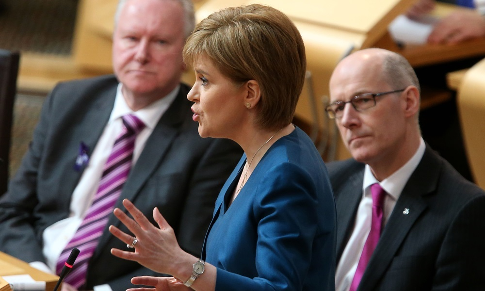 First Minister Nicola Sturgeon speaks during First Minister's Questions at the Scottish Parliament in Edinburgh. PRESS ASSOCIATION Photo. Picture date: Thursday February 25, 2016. See PA story SCOTLAND Questions. Photo credit should read: Andrew Milligan/PA Wire