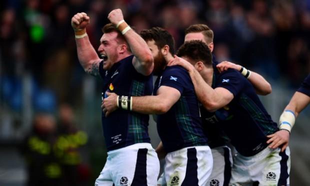 Stuart Hogg celebrates after Tommy Seymour's try.