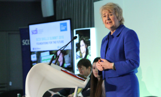 Roseanna Cunningham addressing the Skills Summit in Dundee.