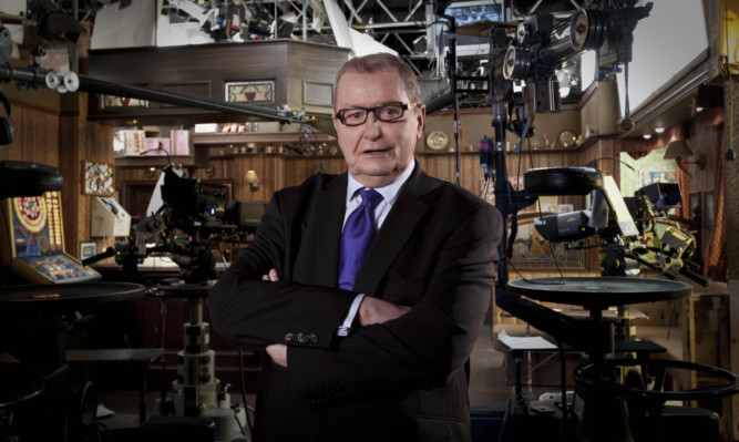 Tony Warren on the Coronation Street set.