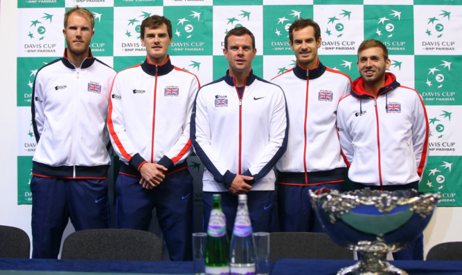 GB captain Leon Smith, centre, with his team, from left: Dominic Inglot, Jamie Murray, Andy Murray and Dan Evans.