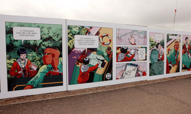 Will Morris and David MacKenzie's hoarding comic strip around the V&A construction site.