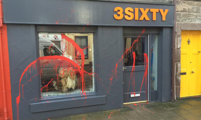 The 3sixty shop in Montrose was vandalised.
