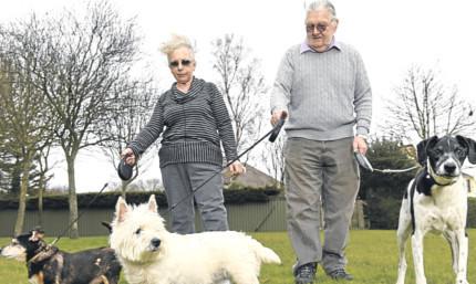 Ann and Gordon Dickie with their pets Jocky, Poppy and Oscar.