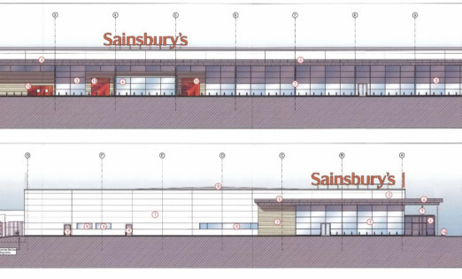 An artist's impression of Sainsbury's plans for a new store.