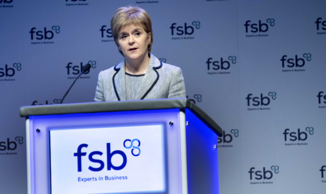 The First Minister addressing the FSB conference.
