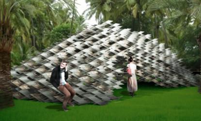 Kengo Kumas aluminium cloud pavilion can be used indoors or outdoors.